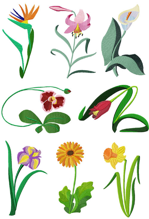 4 machine embroidery designs for Garden embroidery designs free