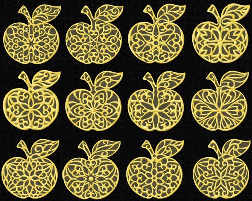 Gold Lacy Apples 12 Machine Embroidery Designs 4x4