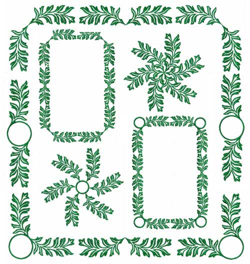 Green Leaves Ornaments Machine Embroidery Designs set