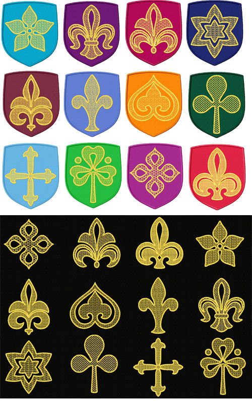 Heraldic 12 Applique Machine Embroidery Designs