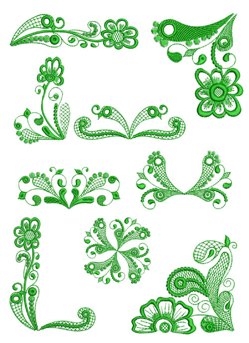 Lacy Ornaments 9 Machine Embroidery Designs set