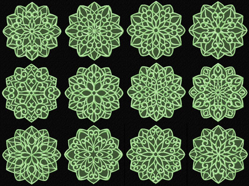 Lacy Snowflakes 12 Machine Embroidery Designs set 4x4