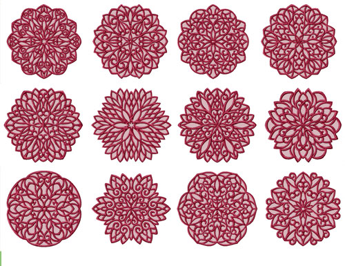 Lacy Snowflakes 12 Machine Embroidery Designs set 5x7