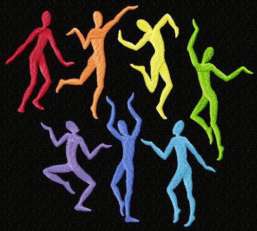 Rainbow Dancing Men 8 Machine Embroidery Designs 5x7