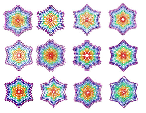 Rainbow Snowflakes 12 Machine Embroidery Designs set 4x4