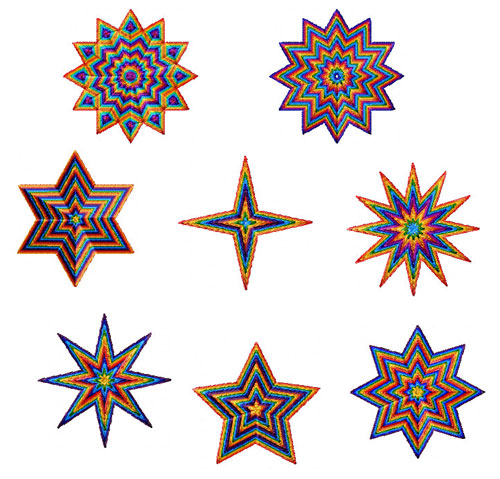 Rainbow Stars 16 Machine Embroidery Designs set 4x4