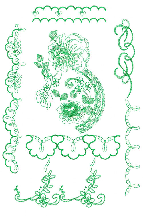 Rose and Borders 10 Machine Embroidery Designs 5x7