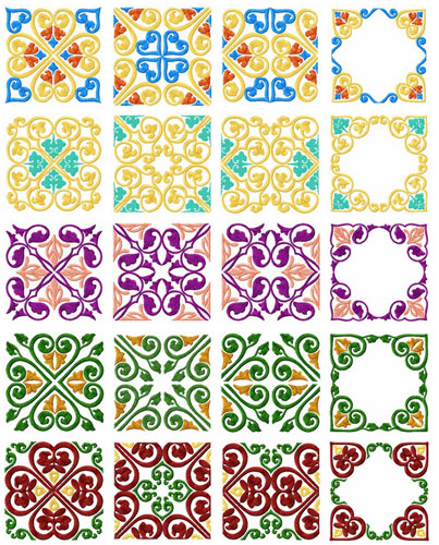 Square Quilt Blocks 20 Machine Embroidery Designs set 4x4