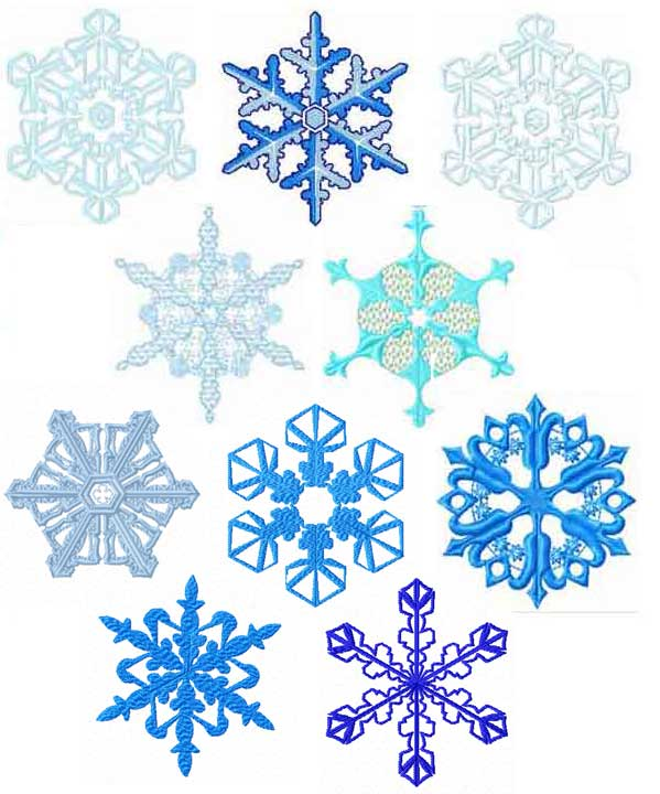 Snowflakes 10 Machine Embroidery designs set