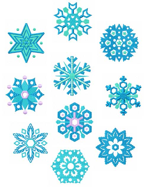 Snowflakes 10 Machine Embroidery designs set 4x4