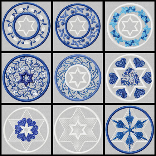 Stars of David 9 Quilt Blocks Machine Embroidery Designs set 4x4