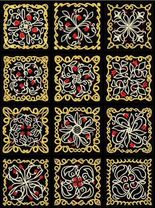 Tulips Ornaments 12 Quilt Blocks Machine Embroidery Designs 4x4