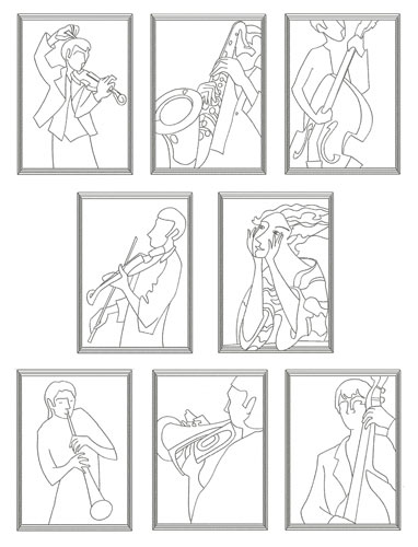 Orchestra 8 Redwork Designs for 5x7 and Large Hoop