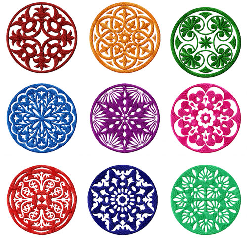 Circle Quilt Blocks 9 Machine Embroidery Designs set 4x4