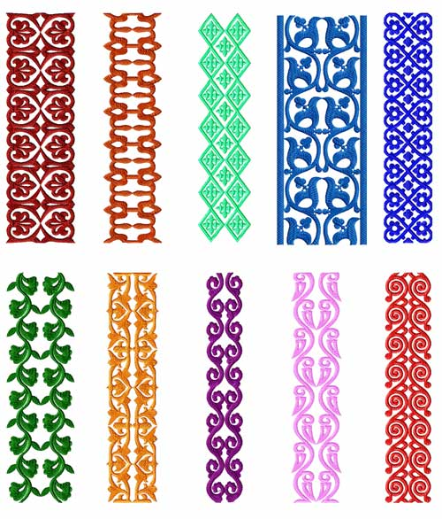 Borders 10 Machine Embroidery Designs set