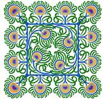 Peacock Feathers Tiles Mosaic Quilt Blocks Machine Embroidery Designs 4x4
