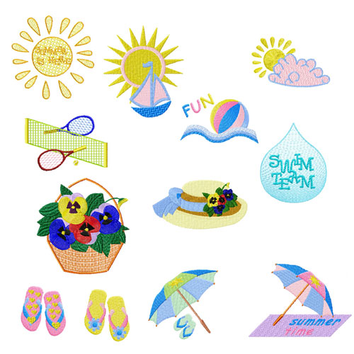 Summer is Here 12 Machine Embroidery Designs 5x7