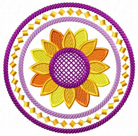 4 Hobby Machine Embroidery Designs Flowers Sunflowers