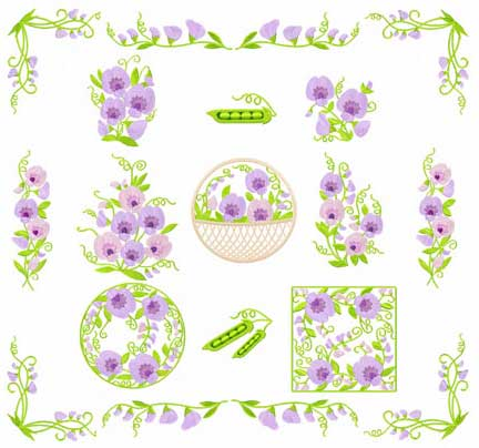 Sweet Pea Flowers 12 Machine Embroidery Designs Set