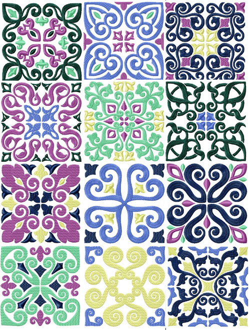 Tiles - 12 Square Quilt Blocks Machine Embroidery Designs 5x5