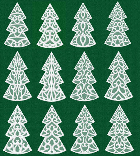Lacy Spruce Trees 12 Machine Embroidery Designs set 4x4