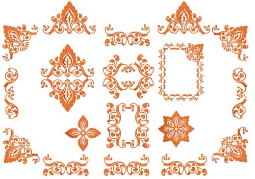 Autumn Leaves Ornaments Machine Embroidery Designs set