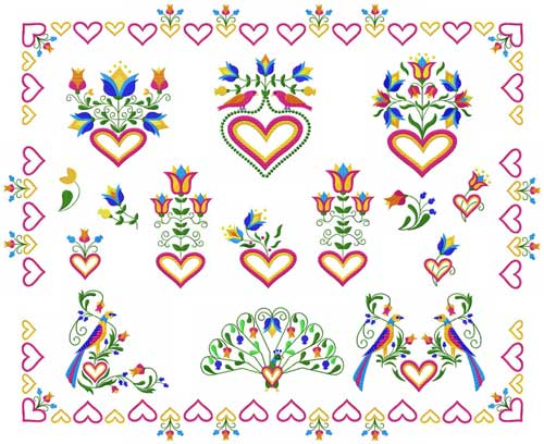 Birds, Hearts and Flowers 16 Machine Embroidery Designs set