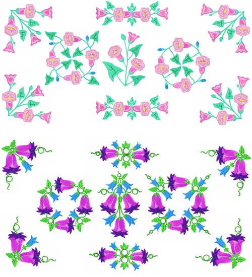 Bluebells Flowers Machine Embroidery Designs set 4x4