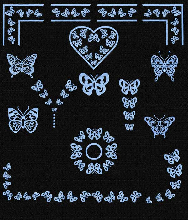 Butterfly Ornaments Machine Embroidery Designs set