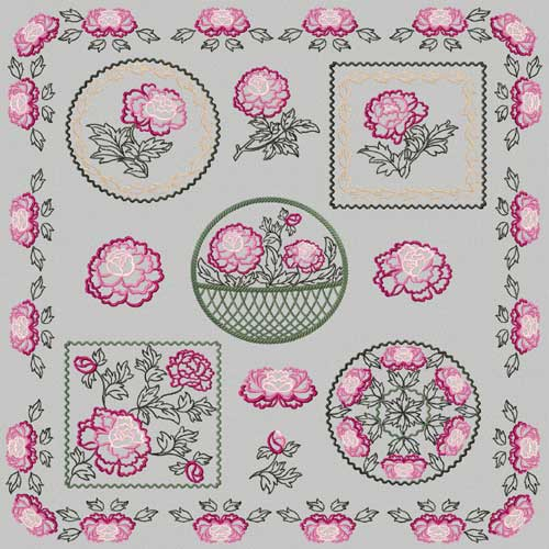 Chinese Peony Flowers 14 Machine Embroidery Eesigns Set