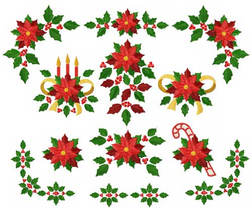 christmas motifs poinsettia machine embroidery designs set