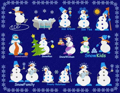 Christmas Motifs: 16 Snowman Machine Embroidery Designs set