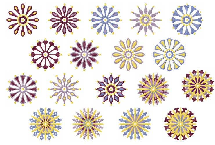 Circle Quilt Motifs/Blocks 18 Machine Embroidery Designs 4x4