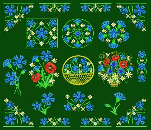 Cornflowers 14 Machine Embroidery Designs set