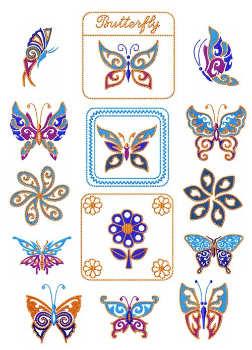 Fairy Butterfly and Flowers Machine Embroidery Designs set 4x4