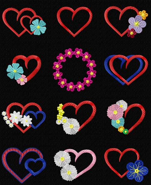Floral Hearts 12 Machine Embroidery Designs set 4x4