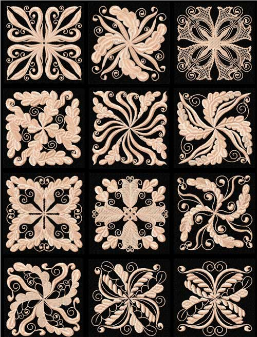 Floral Motifs 12 Quilt Blocks Machine Embroidery Designs 4x4
