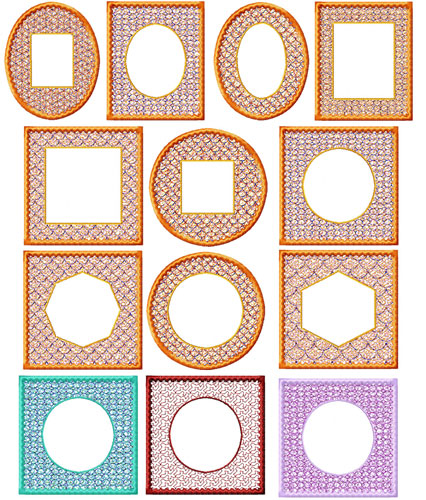 Frames 10 Machine Embroidery Designs set 4x4