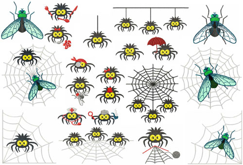 Funky Spiders 22 Machine Embroidery Designs set 5x7