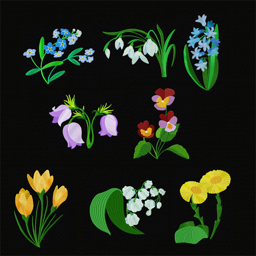 Garden #2: 8 Snowdrop Flowers Machine Embroidery Designs set 5x7