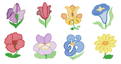 Garden #3: 8 Flowers Machine Embroidery Designs set 5x7