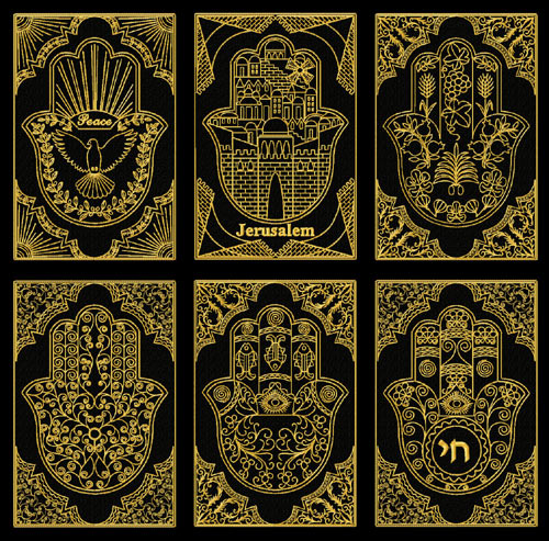 Gold Lacy Hamsa Machine Embroidery Designs set + corners