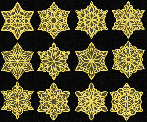 Gold Snowflakes 12 Machine Embroidery Designs set 4x4