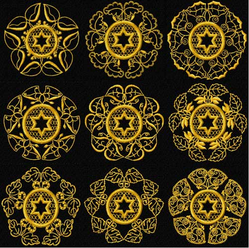 Gold Stars of David 9 Quilt Blocks Machine Embroidery Designs 4x4