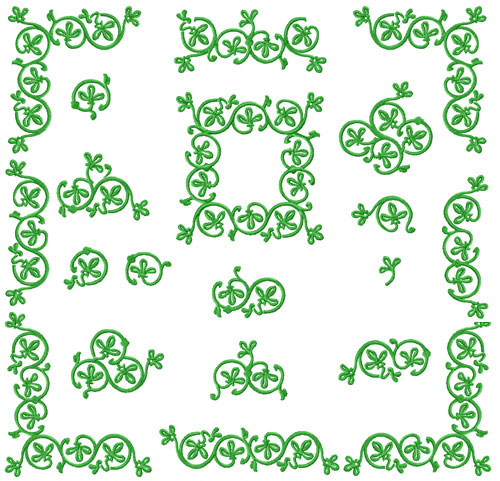 Green Ornaments 18 Machine Embroidery Designs Set 5x7