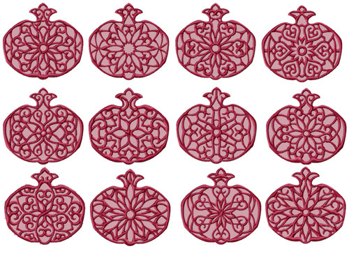 Lacy Pomegranates 12 Machine Embroidery Designs set 4x4