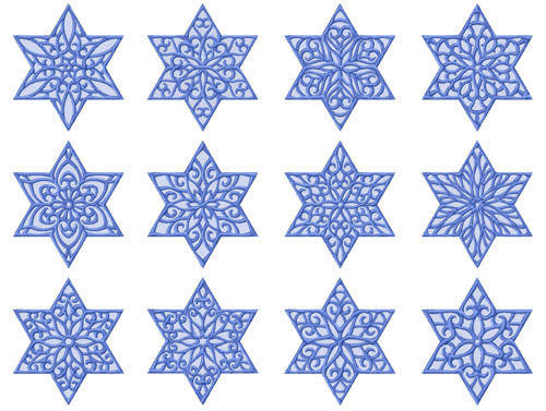 Lacy Stars of David 12 Machine Embroidery Designs set 4x4