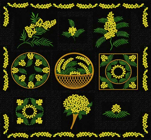 Mimosa Flowers 11 Machine Embroidery Designs set