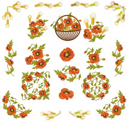 Poppies and Wheat 18 Machine Embroidery Designs set