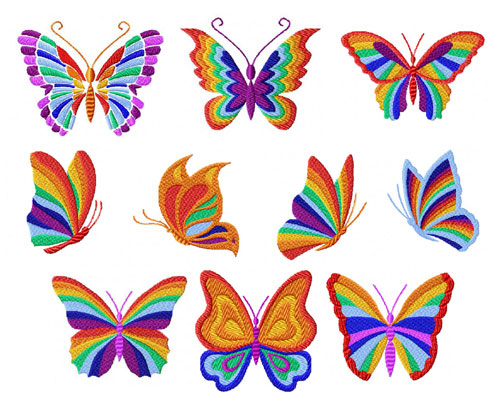 Rainbow Butterflies 10 Machine Embroidery Designs set 4x4